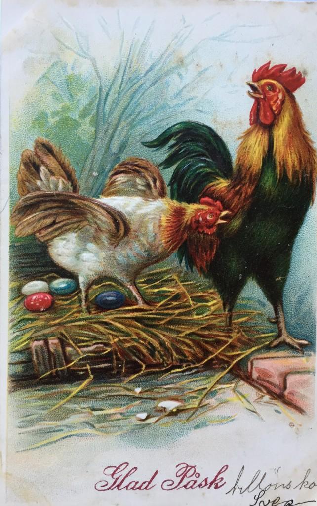 Antikt påskkort. Höna och tupp med färgade ägg i rede.
