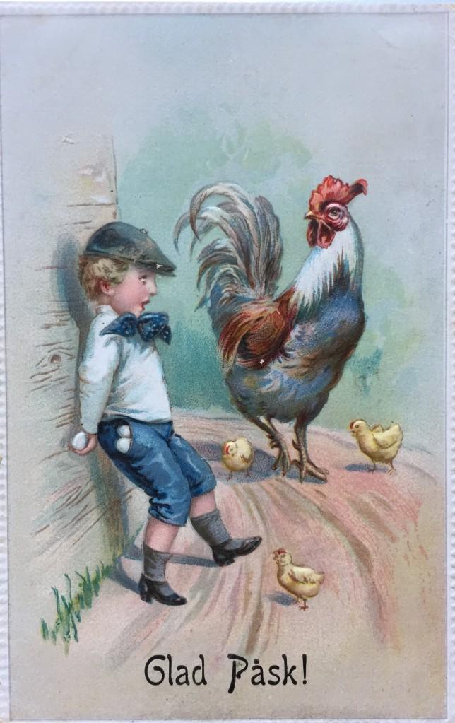 Antikt påskkort med tupp, kycklingar och pojke som är rädd.