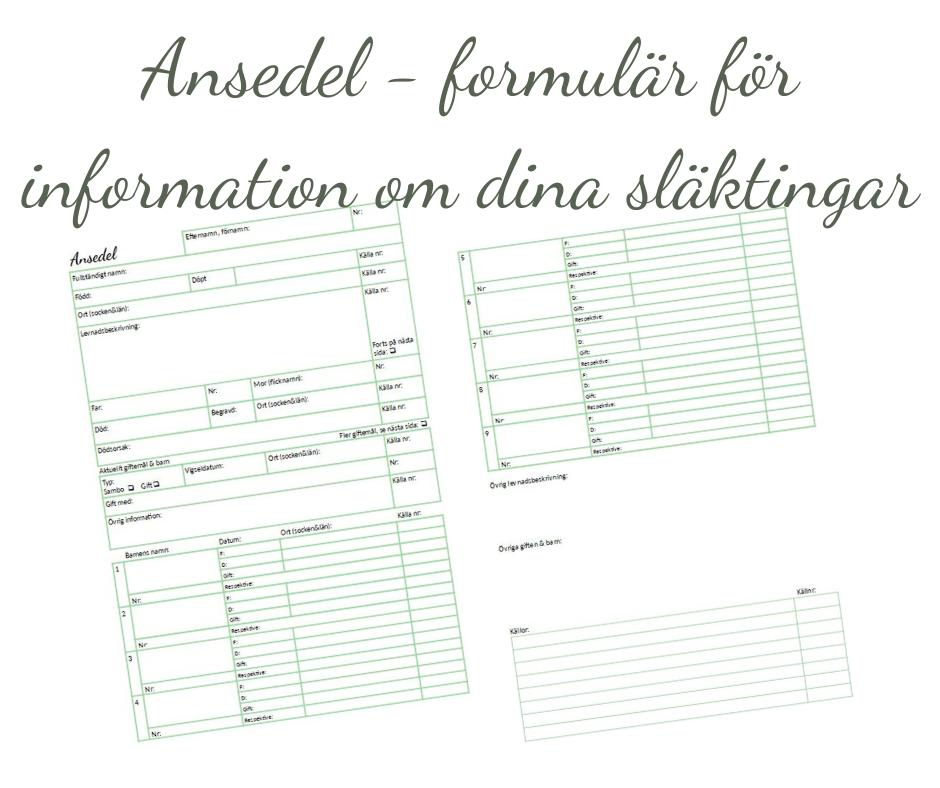 Ansedel - formulär för information om dina släktingar